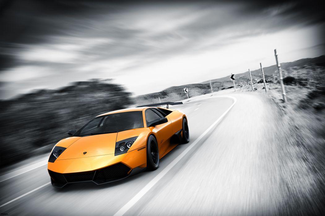 cars Lamborghini selective coloring wallpaper