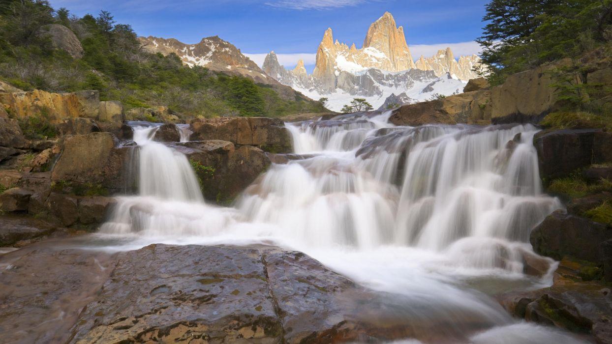 mountains landscapes waterfalls wallpaper