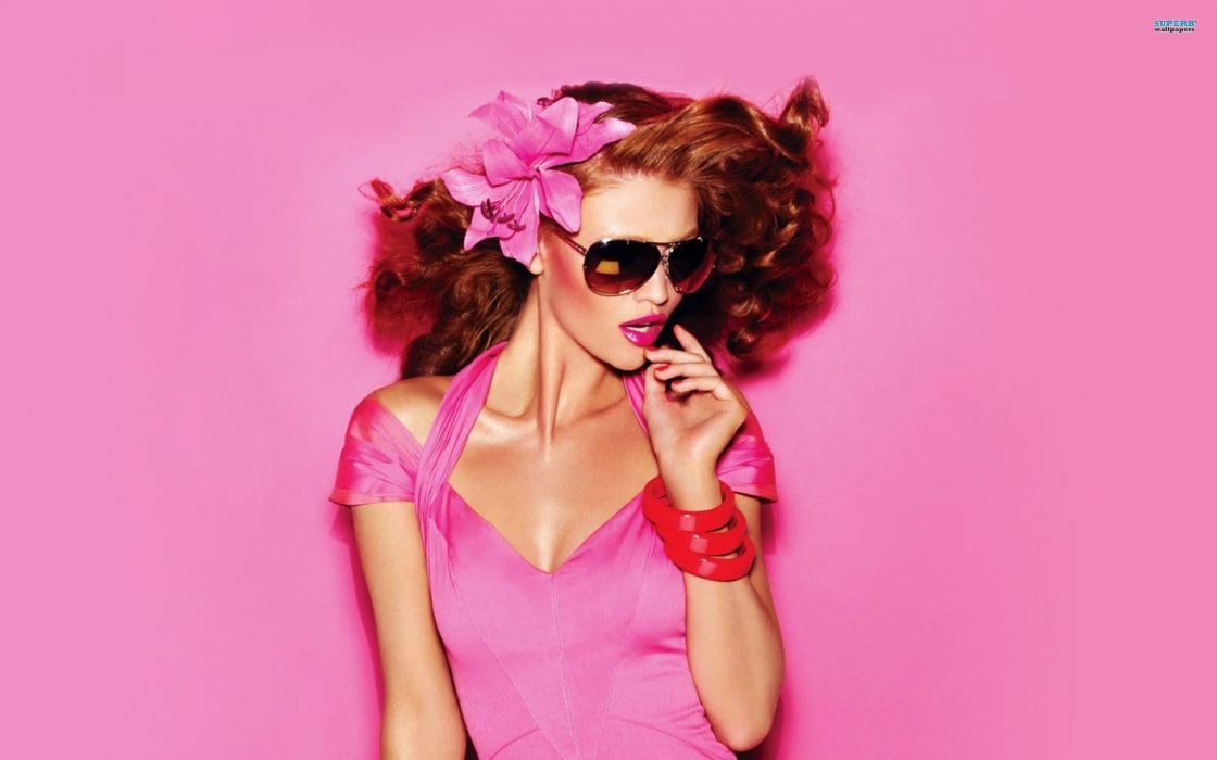 women redheads sunglasses Cintia Dicker pink clothing wallpaper