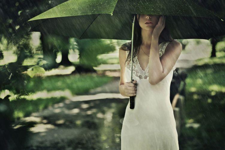 women rain umbrellas wallpaper