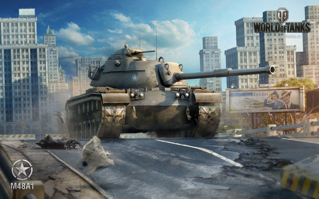 video games tanks August World of Tanks George S_ Patton M48A1 wallpaper