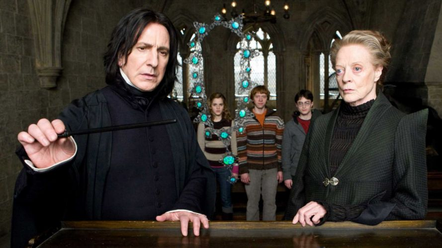 Harry Potter screenshots Harry Potter and the Half Blood Prince wand necklaces Alan Rickman Hermione Granger Ron Weasley Severus Snape Minerva McGonagall Maggie Smith wallpaper