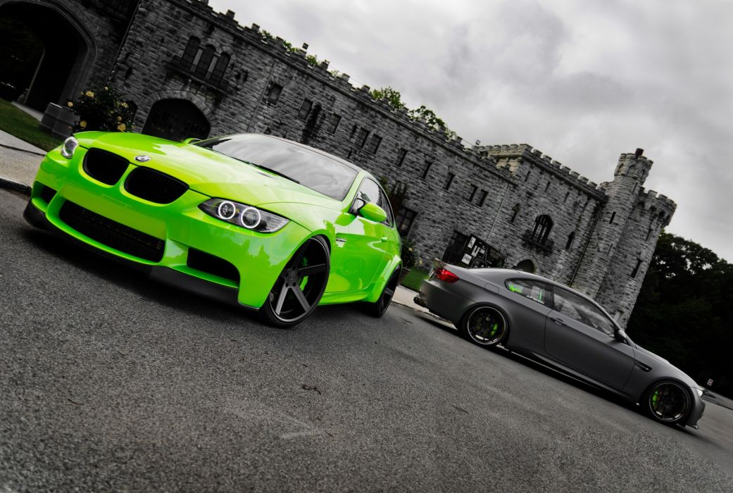 green BMW cars selective coloring BMW M3 green cars wallpaper