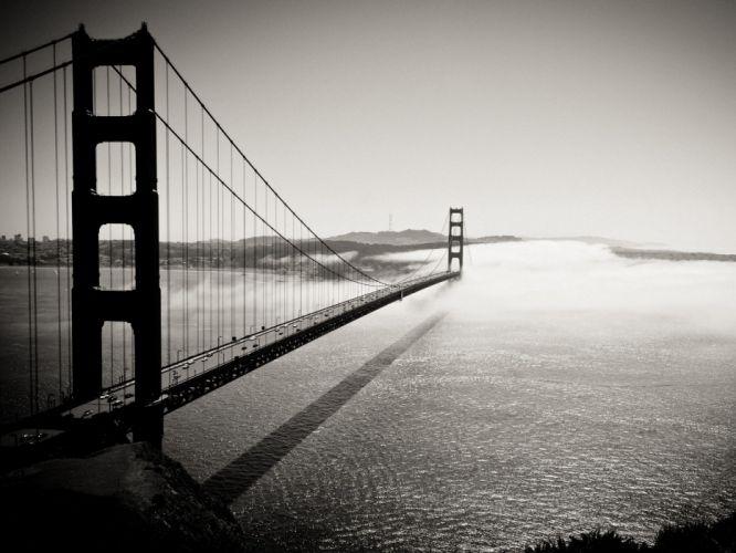 Golden Gate Bridge monochrome wallpaper