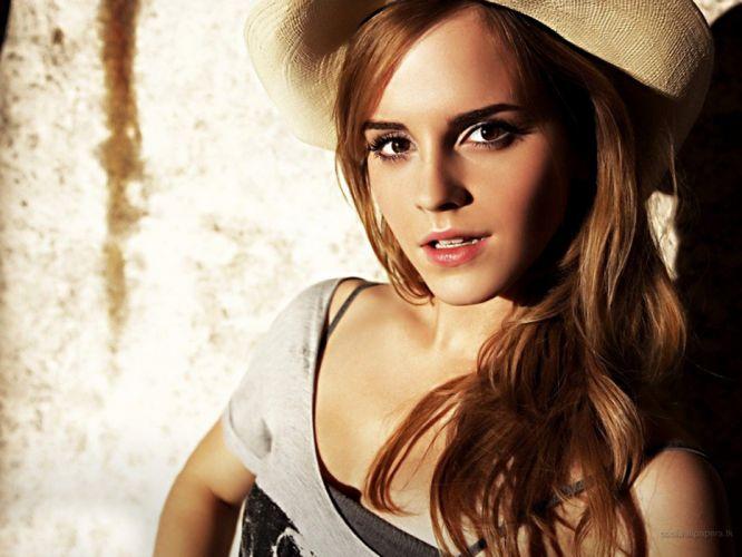 blondes women Emma Watson actress brown eyes hats wallpaper