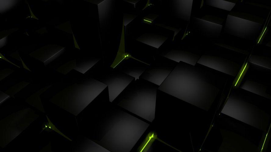 dark cubes glow computer graphics wallpaper