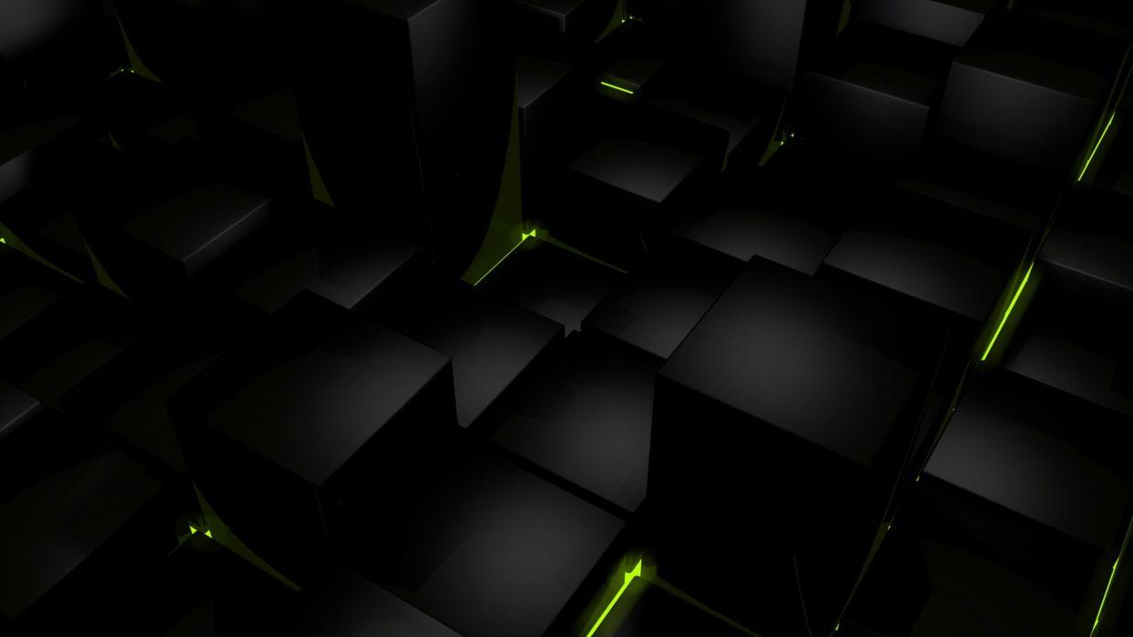 Dark cubes glow computer graphics wallpaper x