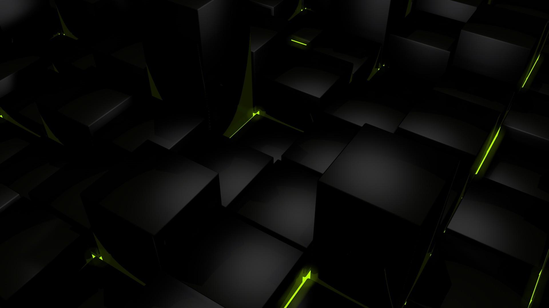 Dark Cubes Glow Computer Graphics Wallpaper 1920x1080