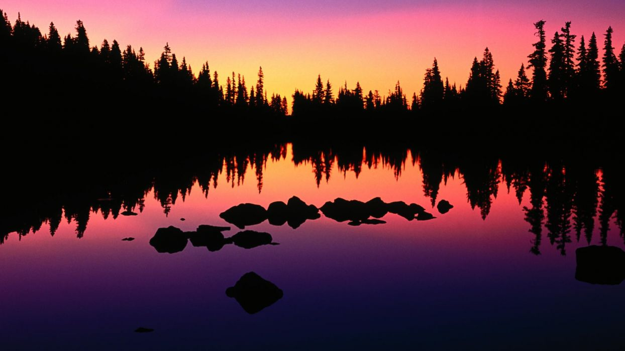trees silhouettes Oregon lakes reflections wallpaper