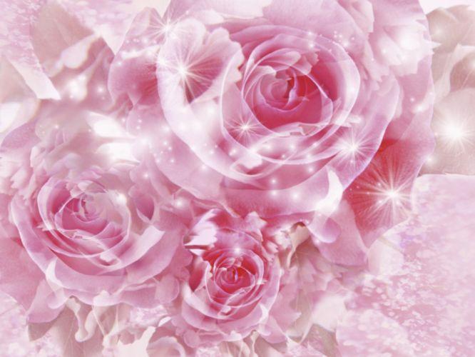 abstract nature bliss Earth digital art pink flowers wallpaper