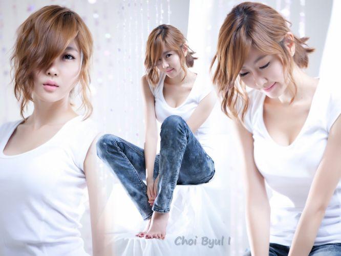 blondes women models tank tops barefoot Asians Korean collage Choi Byul wallpaper