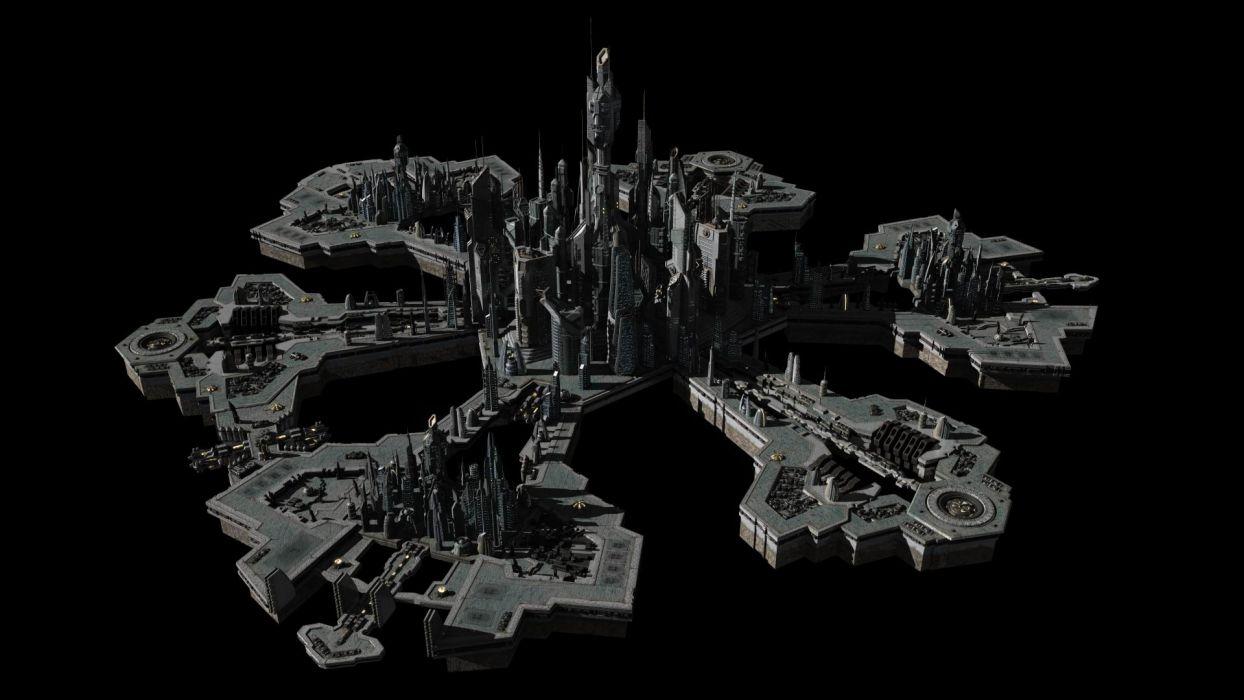 cityscapes architecture Stargate Atlantis Stargate buildings 3D render wallpaper