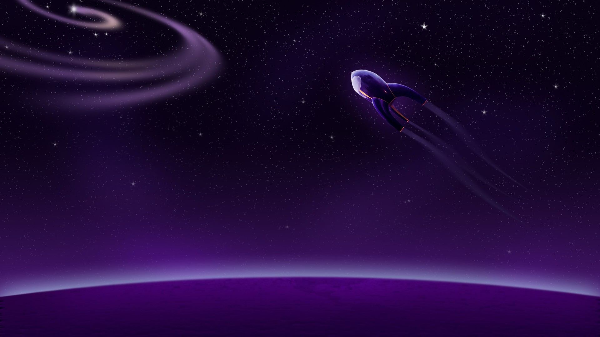 Outer space pattern stars flying purple vehicles rocket ...