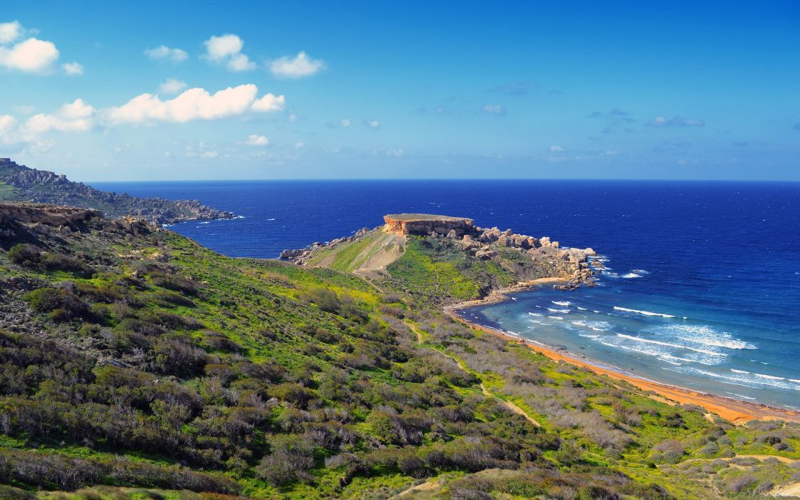 Coast Malta Sea Sky Ghain Tuffieha Horizon Nature wallpaper