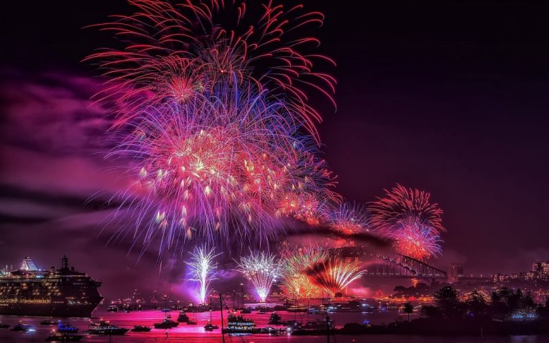 night fireworks cities wallpaper