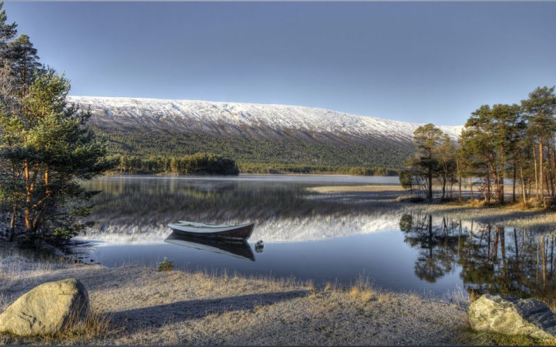 river Norway Lodka Landscape Lesja HDR Nature wallpaper