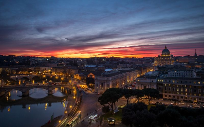 Rome the Vatican the city night sunset panorama houses buildings reflection wallpaper
