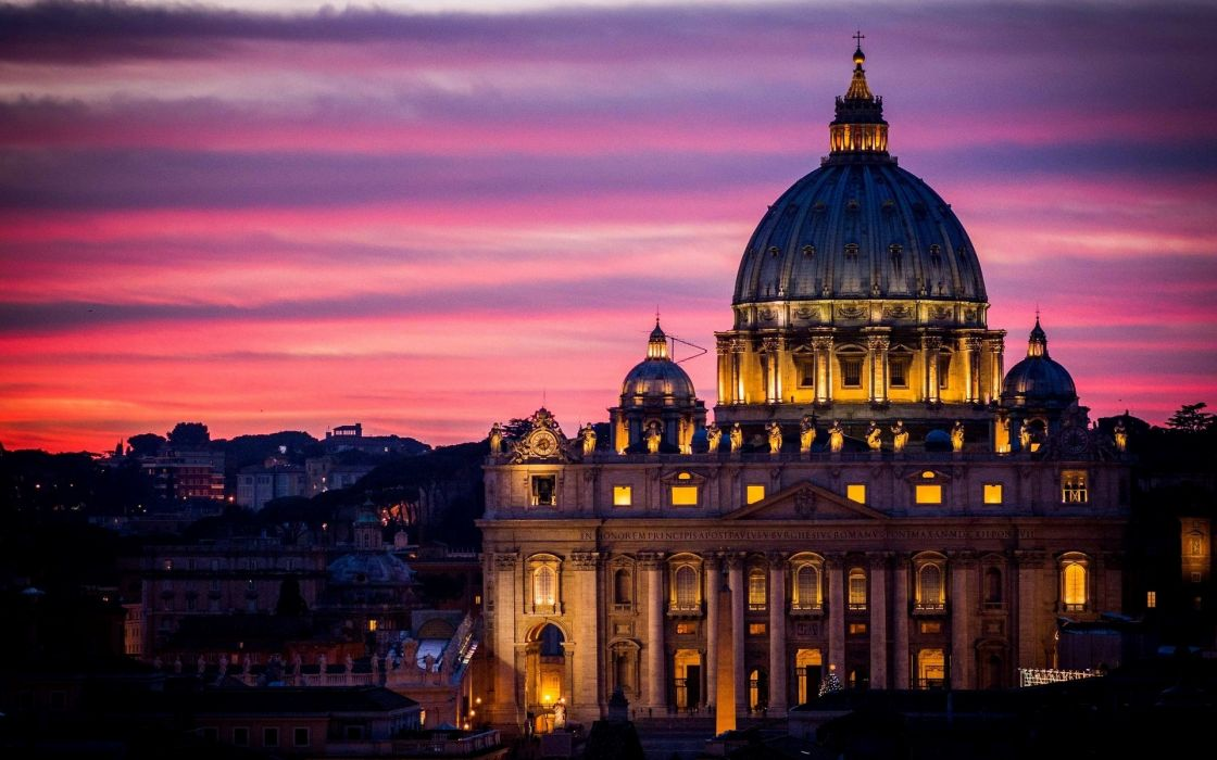Rome Vatican City St_ Peter's Cathedral architecture city night sky wallpaper
