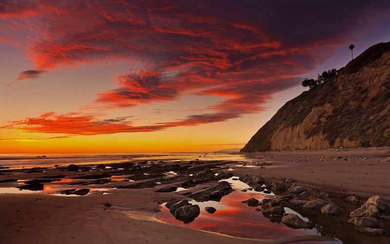 sea rocks tide rocks sky clouds sunset landscape wallpaper
