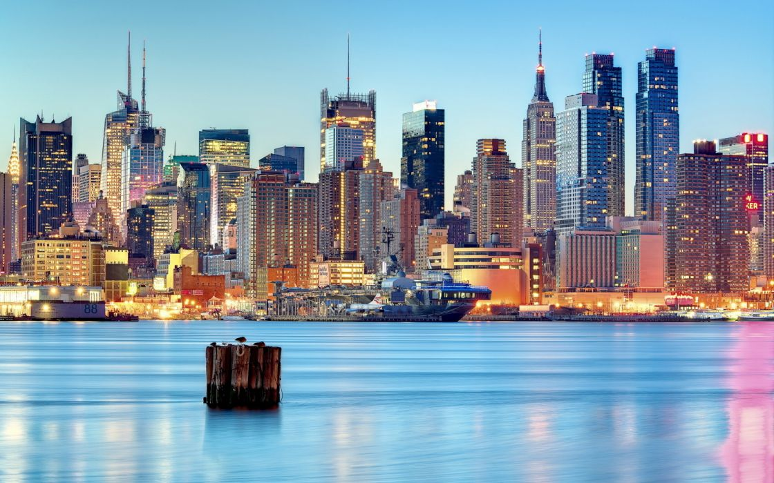 United States New Jersey Weehawken New York City reflection wallpaper