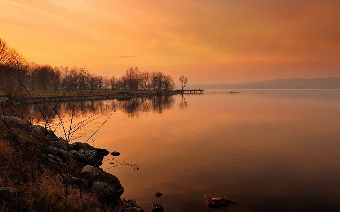landscape lake sunset sky trees rocks wallpaper