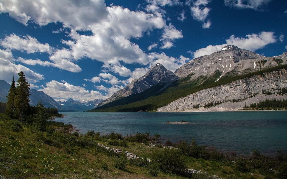 landscape mountain river sky clouds Old Goat Mountain Canada wallpaper