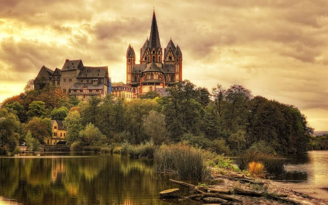 Limburg Germany castle trees houses wallpaper