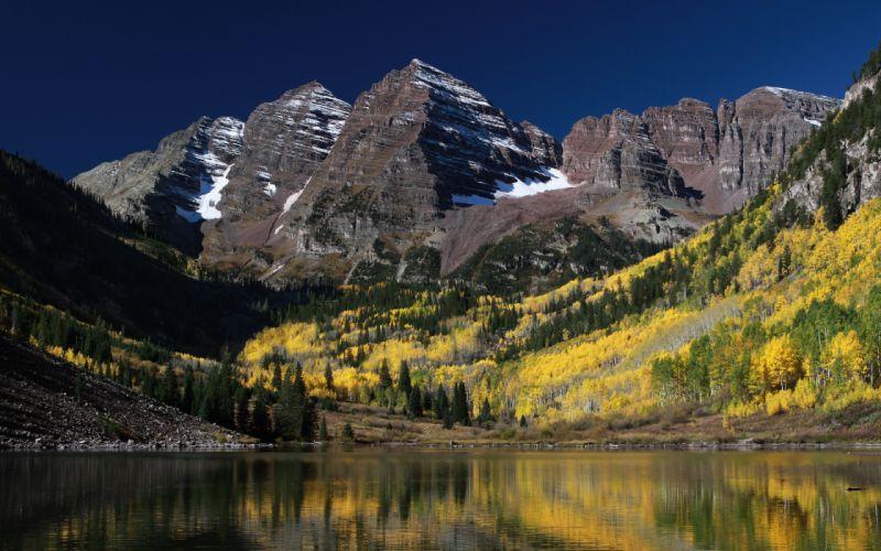 mountain lake trees landscape nature rocks Colorado USA autumn wallpaper