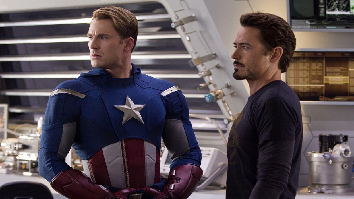 Iron Man Captain America Tony Stark Robert Downey Jr actors Chris Evans Steve Rogers The Avengers (movie) wallpaper