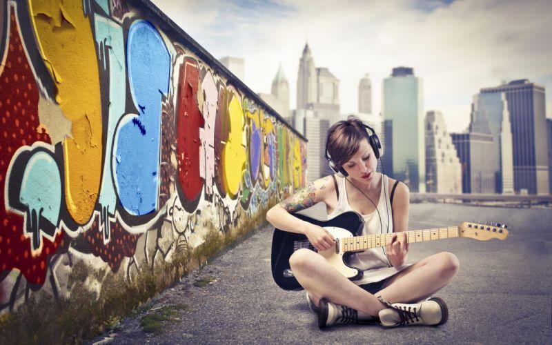 tattoos women models graffiti guitars wallpaper