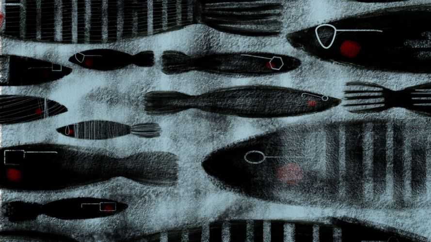abstract grunge fish artwork wallpaper