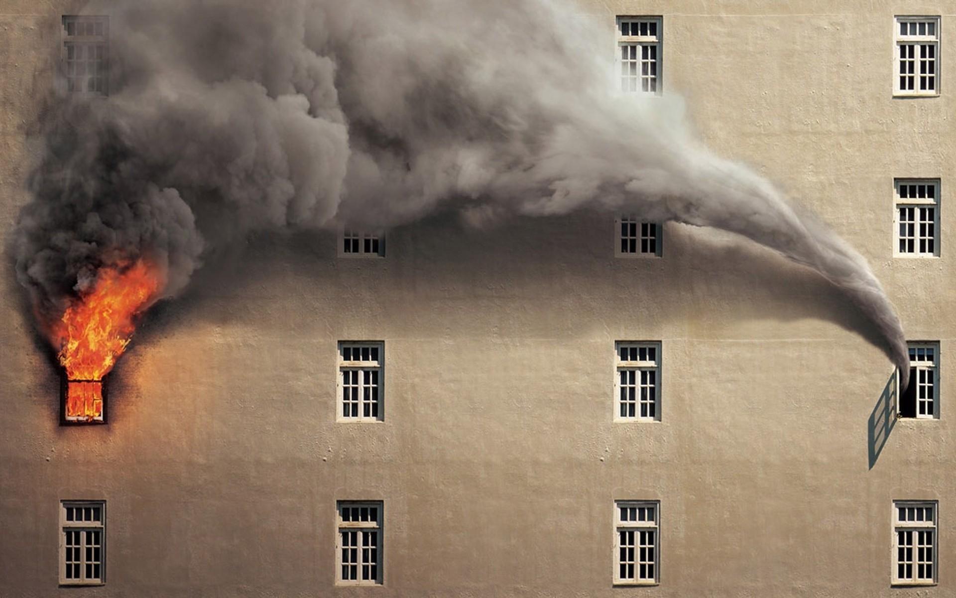 Fire Smoke Buildings Photomanipulation Windows Wallpaper