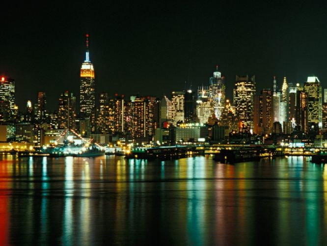 cityscapes New York City city skyline New Jersey reflections cities wallpaper