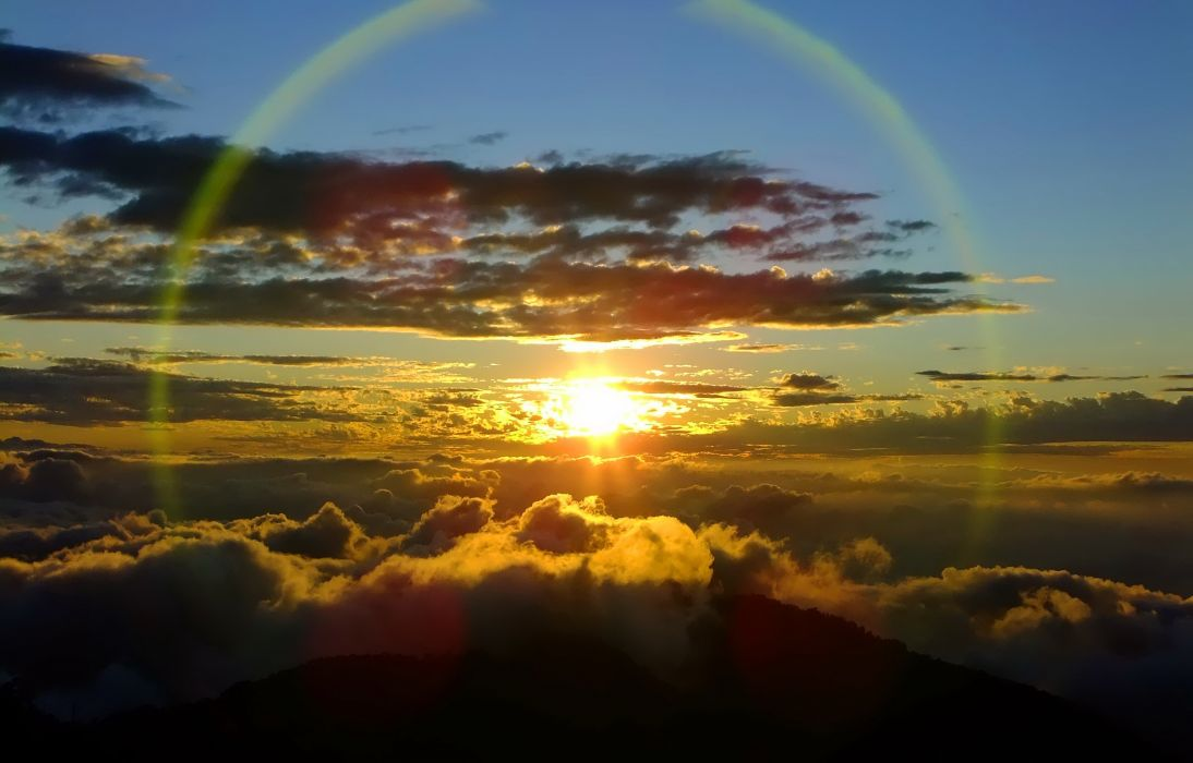 sunset mountains clouds The Sun sunlight skyscapes skies suns wallpaper