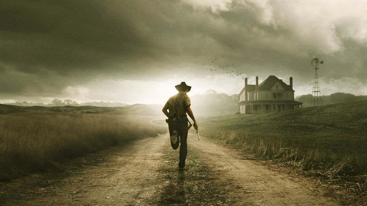 houses path cowboys The Walking Dead running wallpaper