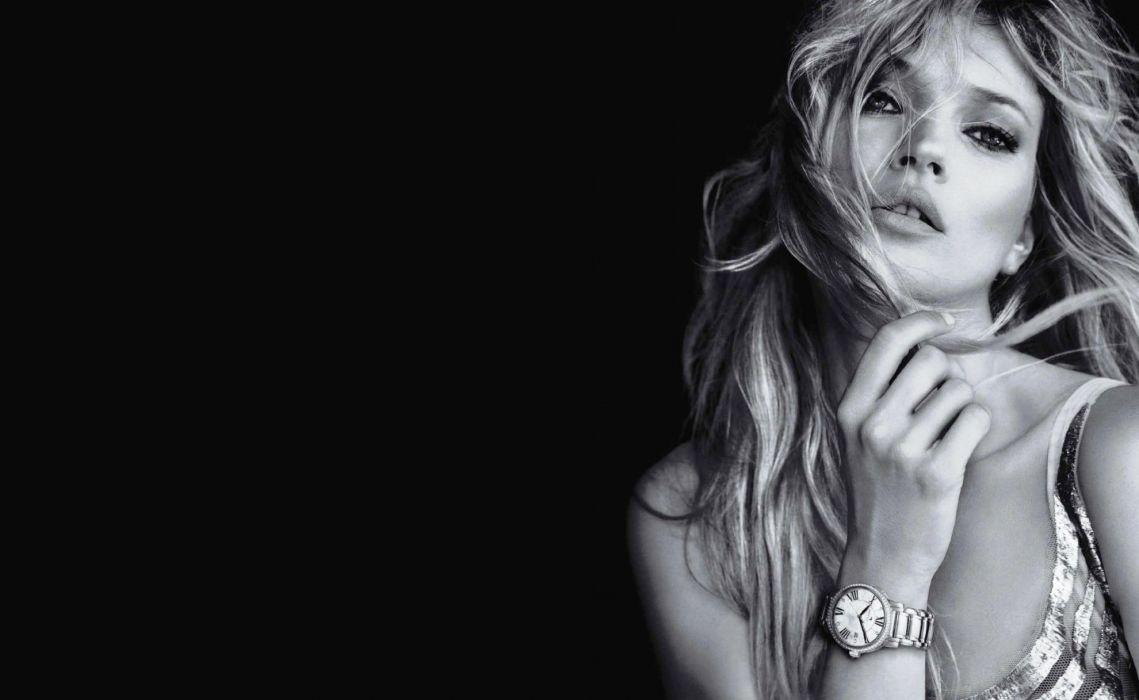 women models fashion Kate Moss monochrome watches greyscale wallpaper