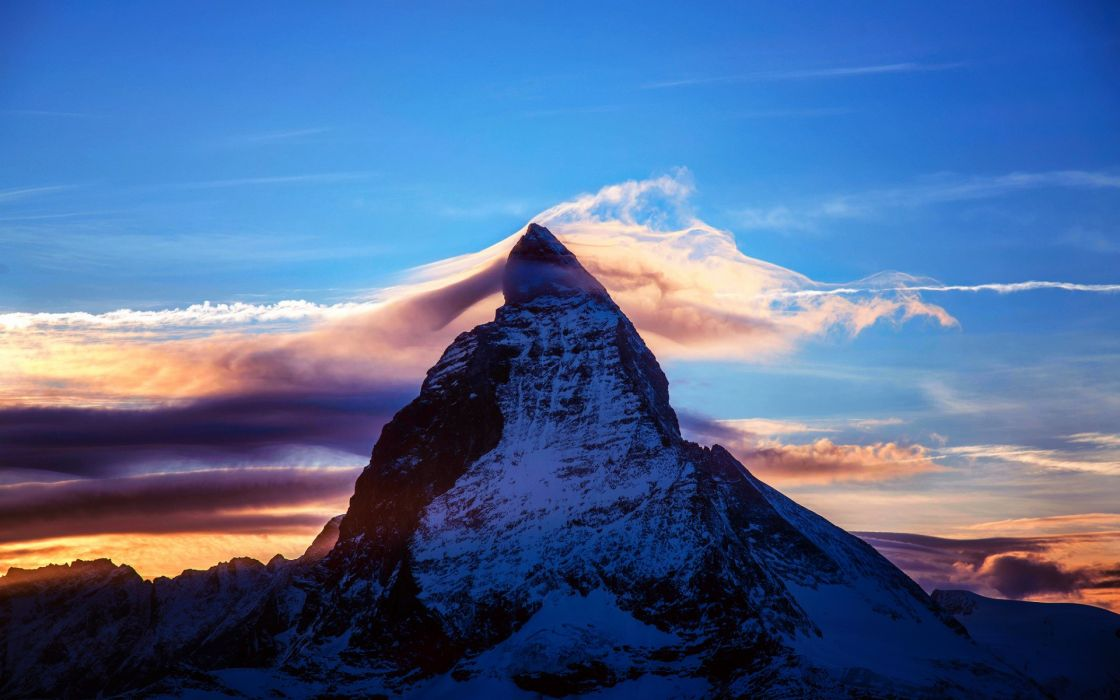 Alps Switzerland Italy Matterhorn mountain night sunset sky clouds mountains snow wallpaper
