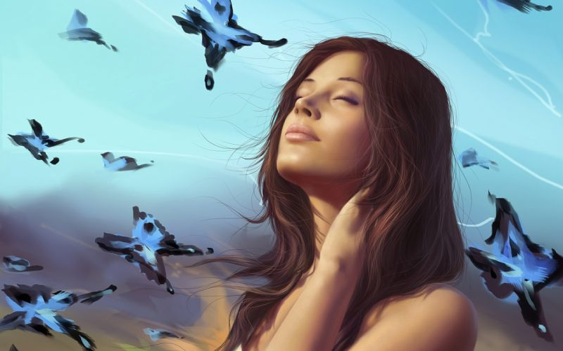 Art girl butterfly sky dream wallpaper