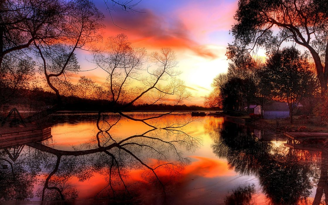 autumn sunset pond lakes reflection wallpaper