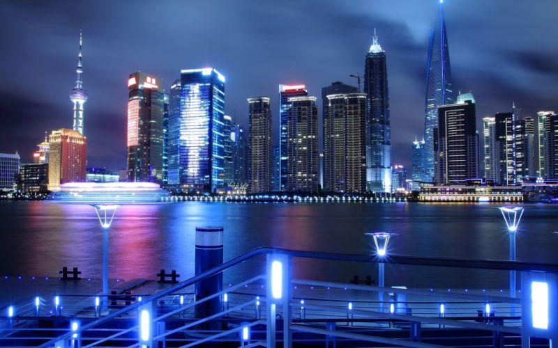 China Shanghai Pudong airport Jin Mao Tower the city night lights skyscrapers quay river Huangpu reflection wallpaper