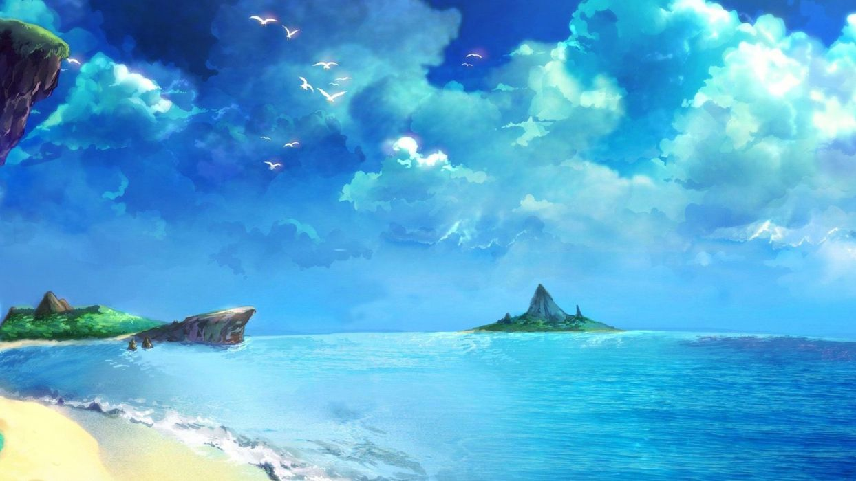 chrono trigger beach drawing blue ocean wallpaper