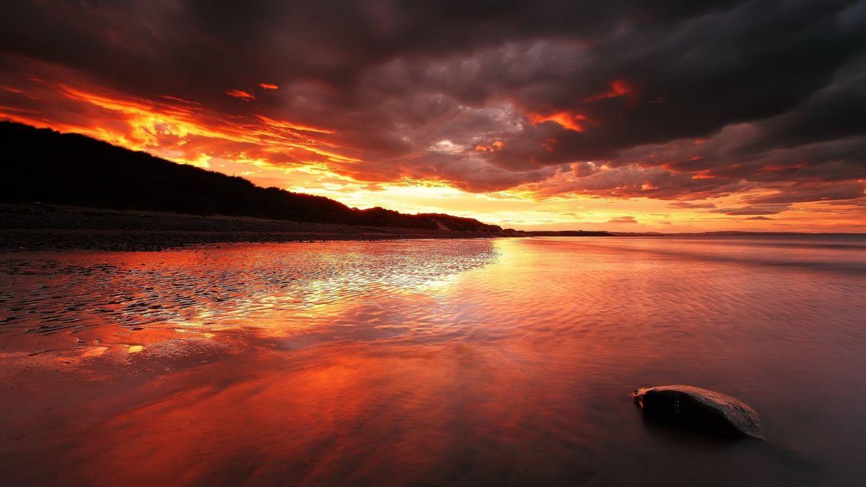 Beach Sunset Clouds reflection sky wallpaper