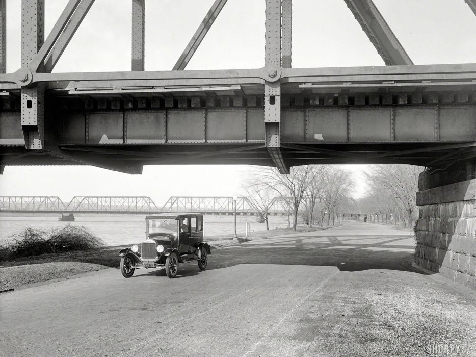 Bridge Classic Car Classic BW wallpaper