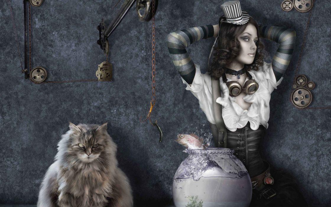 cat fish girl steampunk gothic dark fantasy wallpaper