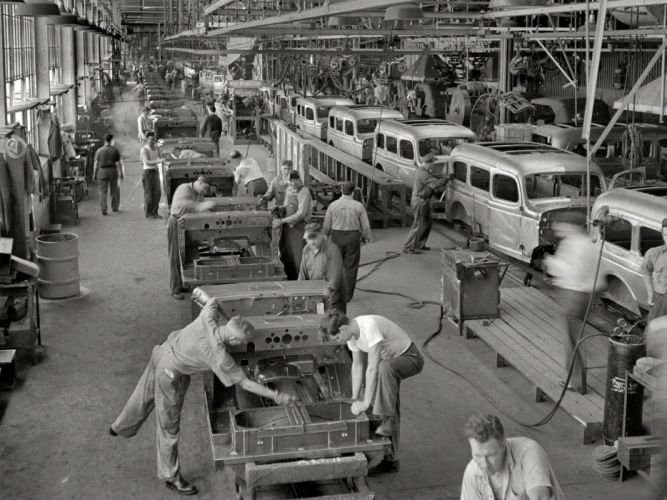 Factory Assembly Line BW Classic Car Classic wallpaper