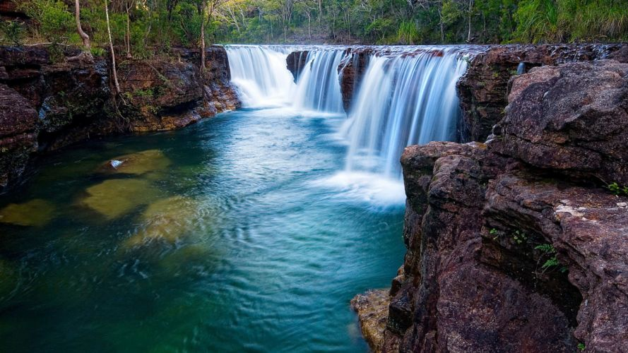 forest river waterfall wallpaper