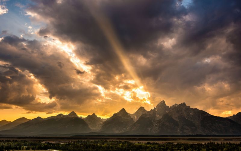 forest sky river Wyoming Valley United States rocky mountains sunset landscapes wallpaper