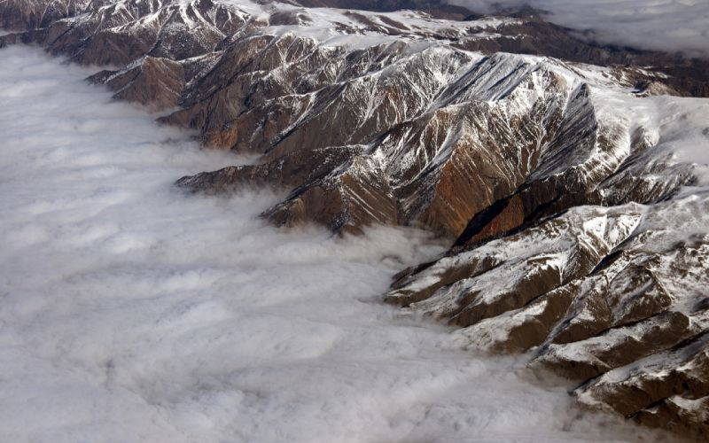 Clouds Aerial Mountains wallpaper