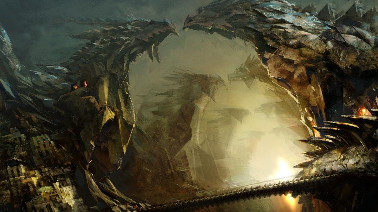 dragons fantasy statues bridges landscapes wallpaper