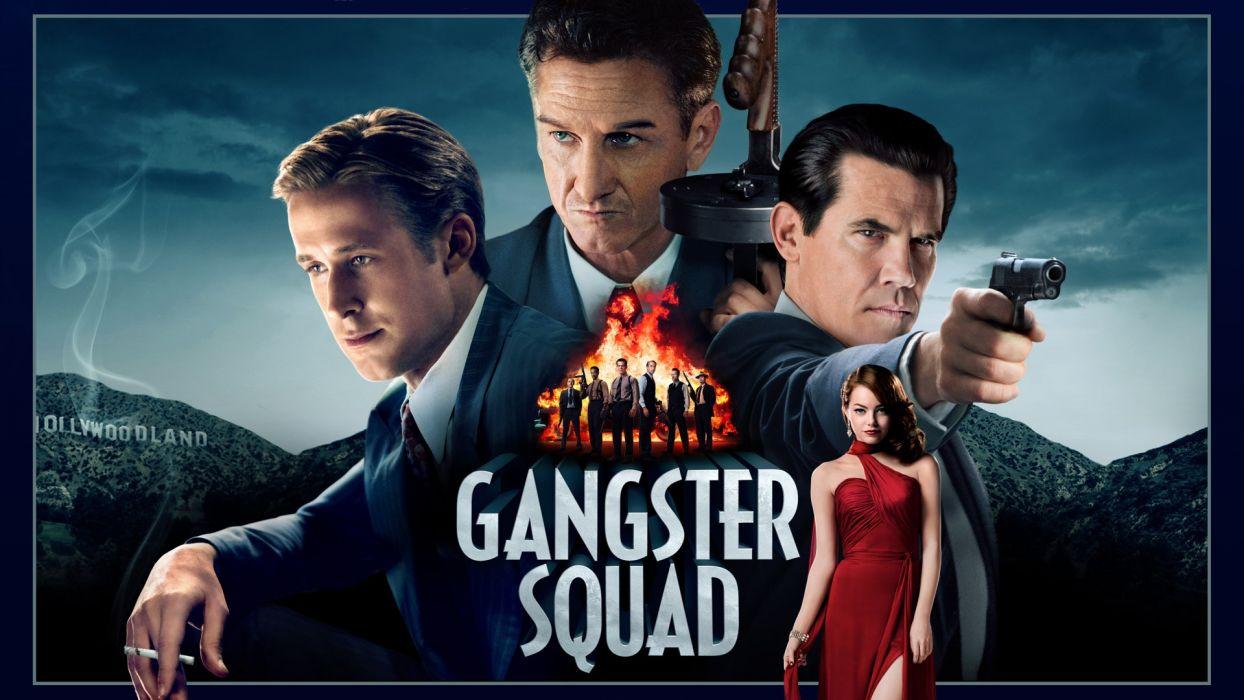 Gangster Squad Ryan Gosling Emma Stone Josh Brolin Sean Penn wallpaper